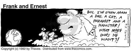 Comic Strip Bob Thaves Tom Thaves  Frank and Ernest 1992-05-06 animal god
