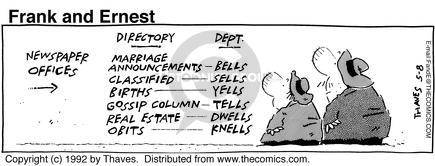 Comic Strip Bob Thaves Tom Thaves  Frank and Ernest 1992-05-08 gossip