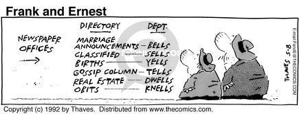 Newspaper office.  Directory ... department  Marriage Announcements ... Bells, Classified ... Sells, Births ... Yells, Gossip Column ... Tells, Real Estate ... Dwells, Obits ... Knells