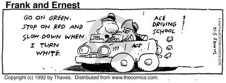 Comic Strip Bob Thaves Tom Thaves  Frank and Ernest 1992-05-12 red light