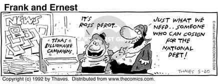 Comic Strip Bob Thaves Tom Thaves  Frank and Ernest 1992-05-20 national debt