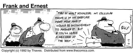 Comic Strip Bob Thaves Tom Thaves  Frank and Ernest 1992-06-13 bus stop