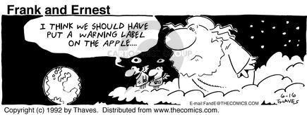 Cartoonist Bob Thaves Tom Thaves  Frank and Ernest 1992-06-16 sky