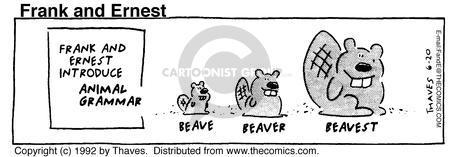 Frank and Ernest introduce Animal Grammar. Beave. Beaver. Beavest.