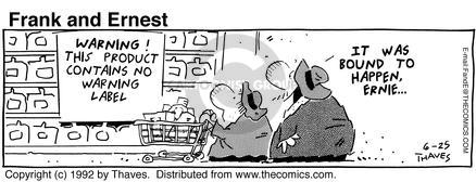 Comic Strip Bob Thaves Tom Thaves  Frank and Ernest 1992-06-25 food label