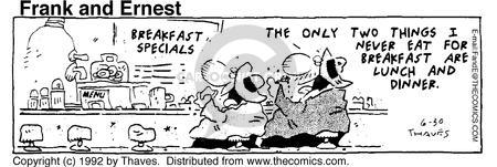 Comic Strip Bob Thaves Tom Thaves  Frank and Ernest 1992-06-30 two things