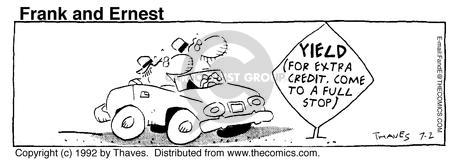 Comic Strip Bob Thaves Tom Thaves  Frank and Ernest 1992-07-02 stop sign
