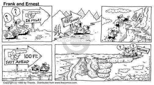 Comic Strip Bob Thaves Tom Thaves  Frank and Ernest 1992-07-05 hiker
