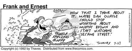 Comic Strip Bob Thaves Tom Thaves  Frank and Ernest 1992-07-27 worry