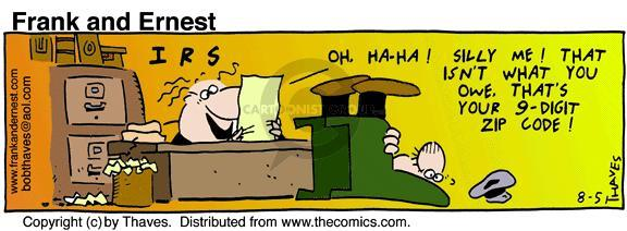 Comic Strip Bob Thaves Tom Thaves  Frank and Ernest 1992-08-05 IRS