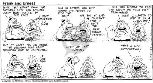 Comic Strip Bob Thaves Tom Thaves  Frank and Ernest 1992-08-09 referee