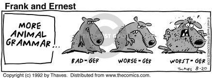 Comic Strip Bob Thaves Tom Thaves  Frank and Ernest 1992-08-20 grammar