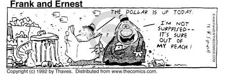 Comic Strip Bob Thaves Tom Thaves  Frank and Ernest 1992-08-31 finance