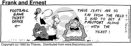 Cartoonist Bob Thaves Tom Thaves  Frank and Ernest 1992-09-04 football game