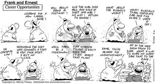 Comic Strip Bob Thaves Tom Thaves  Frank and Ernest 1992-09-06 career change