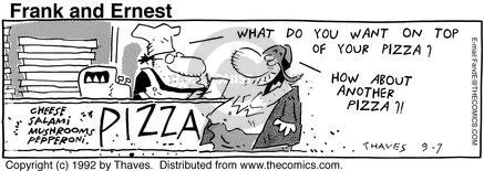 Comic Strip Bob Thaves Tom Thaves  Frank and Ernest 1992-09-07 eat