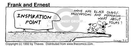 Comic Strip Bob Thaves Tom Thaves  Frank and Ernest 1992-09-21 eat