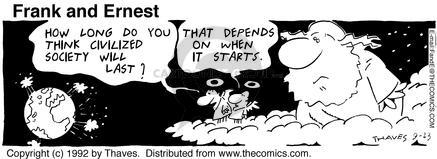 Cartoonist Bob Thaves Tom Thaves  Frank and Ernest 1992-09-23 sky