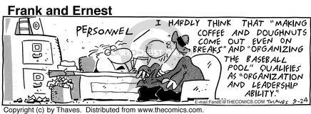 Comic Strip Bob Thaves Tom Thaves  Frank and Ernest 1992-09-24 job interview