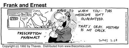 Comic Strip Bob Thaves Tom Thaves  Frank and Ernest 1992-09-28 finance