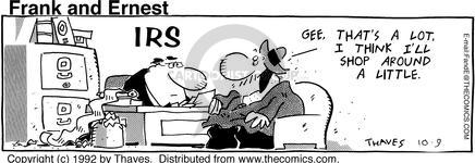 Comic Strip Bob Thaves Tom Thaves  Frank and Ernest 1992-10-09 IRS