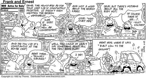 Comic Strip Bob Thaves Tom Thaves  Frank and Ernest 1992-11-29 truth