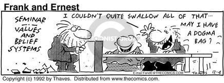 Comic Strip Bob Thaves Tom Thaves  Frank and Ernest 1992-12-04 bag