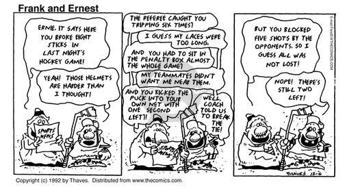 Comic Strip Bob Thaves Tom Thaves  Frank and Ernest 1992-12-06 hockey