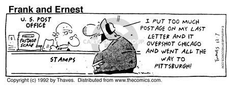 Comic Strip Bob Thaves Tom Thaves  Frank and Ernest 1992-12-07 postal service