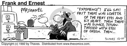Comic Strip Bob Thaves Tom Thaves  Frank and Ernest 1992-12-10 employment work