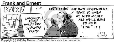Cartoonist Bob Thaves Tom Thaves  Frank and Ernest 1993-01-01 money