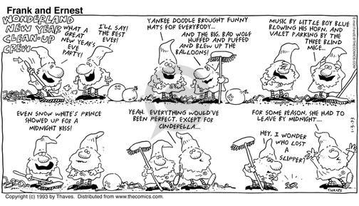Comic Strip Bob Thaves Tom Thaves  Frank and Ernest 1993-01-03 festive