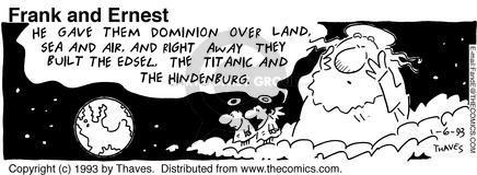 Cartoonist Bob Thaves Tom Thaves  Frank and Ernest 1993-01-06 sky
