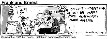Comic Strip Bob Thaves Tom Thaves  Frank and Ernest 1993-01-07 worry