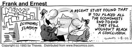Comic Strip Bob Thaves Tom Thaves  Frank and Ernest 1993-01-08 economic theory