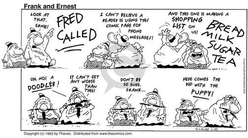 Cartoonist Bob Thaves Tom Thaves  Frank and Ernest 1993-01-10 message
