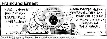 Comic Strip Bob Thaves Tom Thaves  Frank and Ernest 1993-01-13 signal