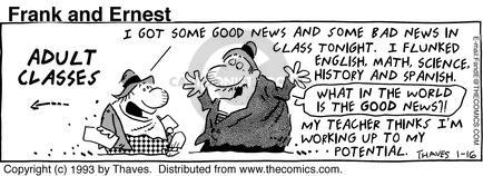 Comic Strip Bob Thaves Tom Thaves  Frank and Ernest 1993-01-16 education