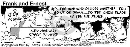 Cartoonist Bob Thaves Tom Thaves  Frank and Ernest 1993-03-03 fire