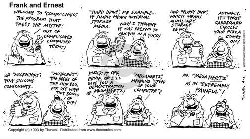 Comic Strip Bob Thaves Tom Thaves  Frank and Ernest 1993-04-04 computer