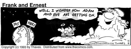 Cartoonist Bob Thaves Tom Thaves  Frank and Ernest 1993-04-13 couple