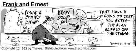 Comic Strip Bob Thaves Tom Thaves  Frank and Ernest 1993-04-15 food quality