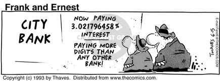 Comic Strip Bob Thaves Tom Thaves  Frank and Ernest 1993-06-15 bank depositor