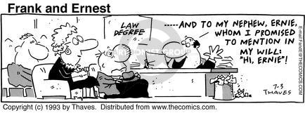 Comic Strip Bob Thaves Tom Thaves  Frank and Ernest 1993-07-03 law