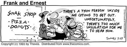 Comic Strip Bob Thaves Tom Thaves  Frank and Ernest 1993-07-29 hear
