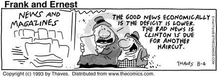 Comic Strip Bob Thaves Tom Thaves  Frank and Ernest 1993-08-04 bad news