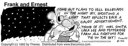 Comic Strip Bob Thaves Tom Thaves  Frank and Ernest 1993-08-26 billboard