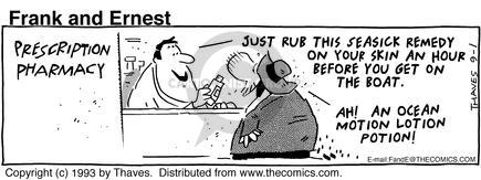 Comic Strip Bob Thaves Tom Thaves  Frank and Ernest 1993-09-01 boat