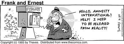 Comic Strip Bob Thaves Tom Thaves  Frank and Ernest 1993-09-20 reality