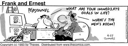 Comic Strip Bob Thaves Tom Thaves  Frank and Ernest 1993-09-27 in water